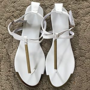 Shoes - White with Gold Thong Sandals